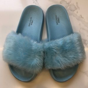 Urban Outfitters fluffy baby blue slides.
